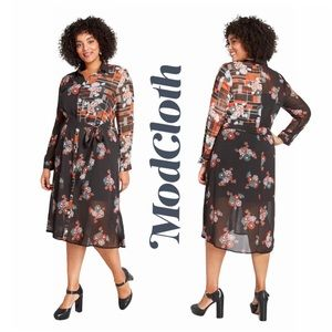 Modcloth Refreshed and Ready Floral Shirt Dress